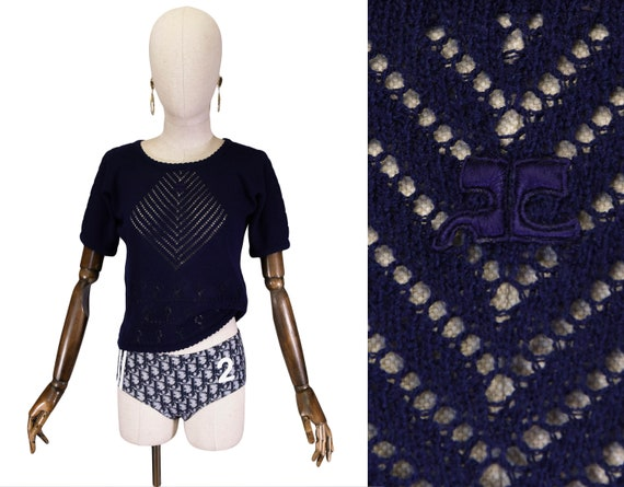 COURREGES knit top, vintage 1970s blue navy cotton
