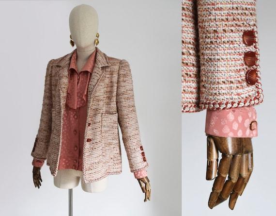 VINTAGE tweed jacket, vintage Chanel style jacket,