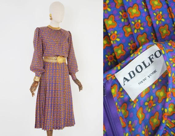 ADOLFO vintage dress. 1970s wool printed Adolfo dr