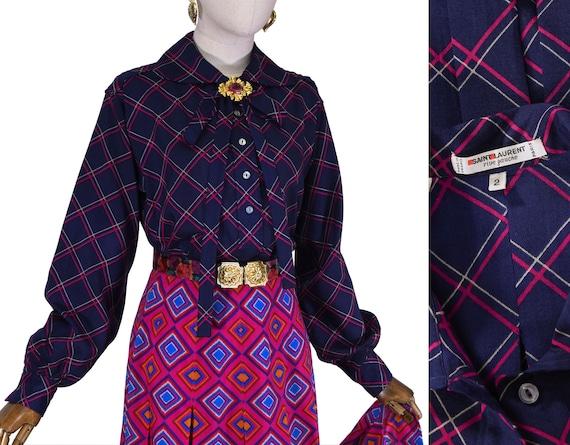SAINT LAURENT blouse, vintage 1970s  Yves Saint La