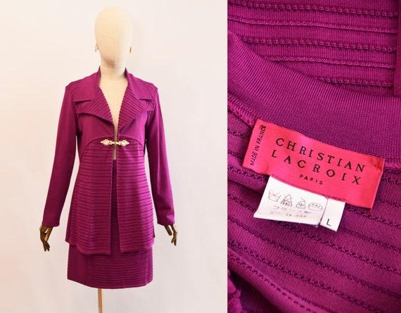 CHRISTIAN LACROIX suit, bougainvillea color knit s