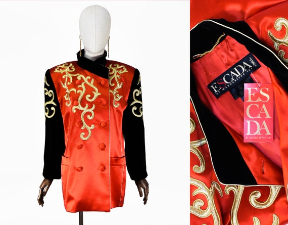 ESCADA silk jacket, vintage 1990s wool, silk and c