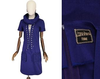 GAULTIER Femme dress. vintage Jean Paul Gaultier blue cotton dress.