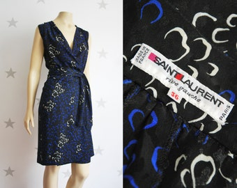 Vintage YVES SAINT LAURENT dress, vintage 1970s silk dress, Printed silk Ysl dress, black, blue silk Saint Laurent dress.