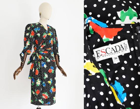 ESCADA silk dress, vintage 1990s floral print silk