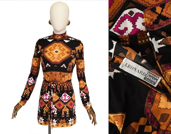 LEONARD printed shirt, LEONARD PARIS vintage 70s v