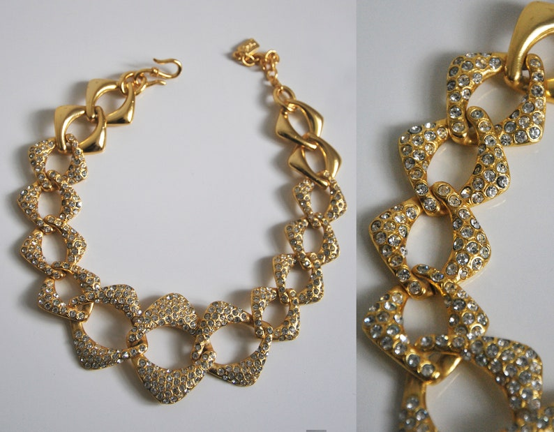 221524a677 1980s YVES SAINT LAURENT Necklace gold tone, Vintage Ysl gold tone strass  necklace.
