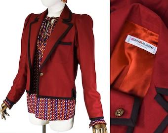 SAINT LAURENT jacket, vintage Yves Saint Laurent wool marron jacket, 1980s YSL wool jacket.
