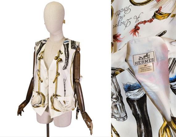 HERMES silk vest, vintage Hermes Vest A Propos De