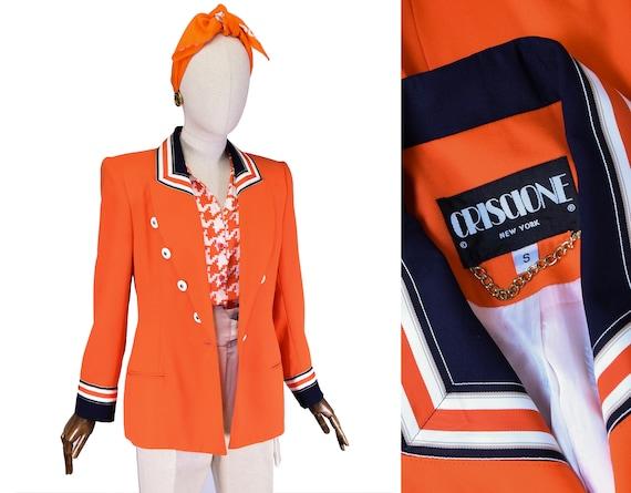 Vintage 1980/'s Criscione New Wave Orange Plaid Blazer  Club Wear  Made in the USA  New York Size SM