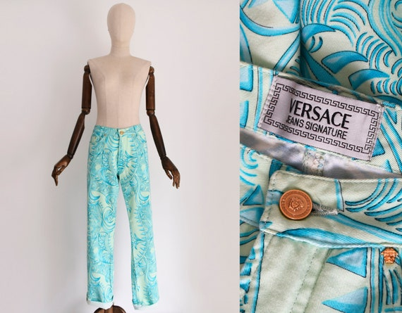 VERSACE Jeans Signature teal and light green baroq