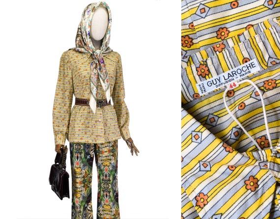 GUY LAROCHE blouse, vintage floral print Guy Laroc