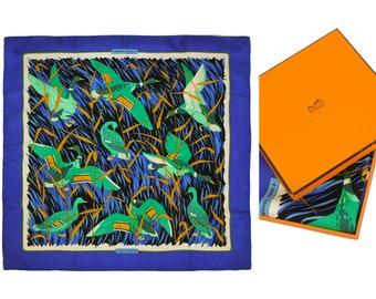 HERMES vintage scarf,  Silk Cols verts Scarf, 80s/90s Blue green and ocher color.