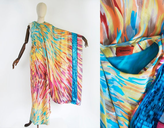 MISSONI long dress. Party vintage dress. Silk. Abs