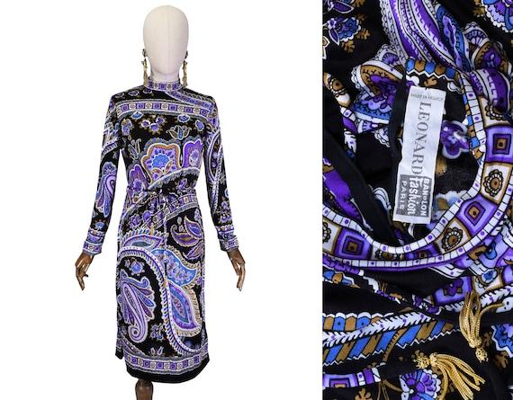 LEONARD vintage dress, Vintage dress with geometri