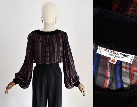 SAINT LAURENT 1980s Rive Gauche blue, red and gray