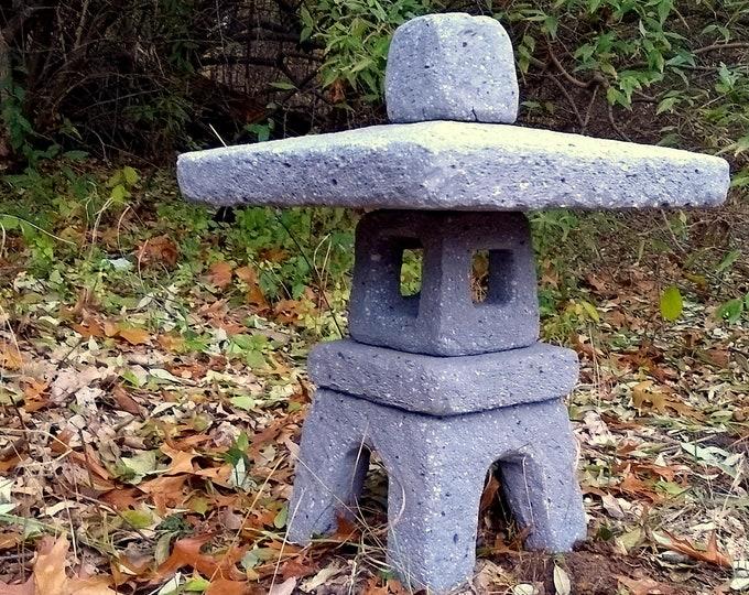 """24"""" Tall Hypertufa Garden Lantern Slate Color in Yukimi-dōrō Japanese Style"""