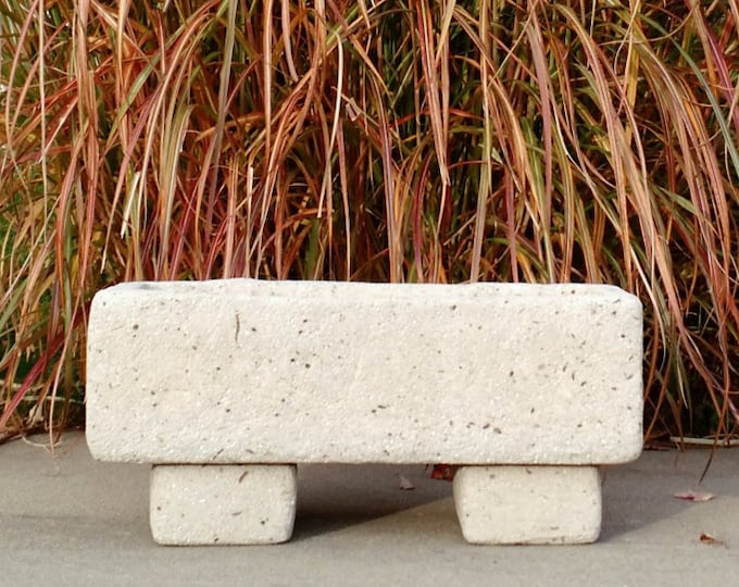 """Large Hypertufa Planter Trough with Feet Limestone Color 30""""x14""""x14"""" Made To Order 4-6 Week Delivery"""