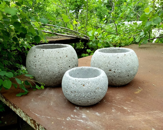 3 Hypertufa Sphere Planters in Slate or Sandstone Color with Free Shipping