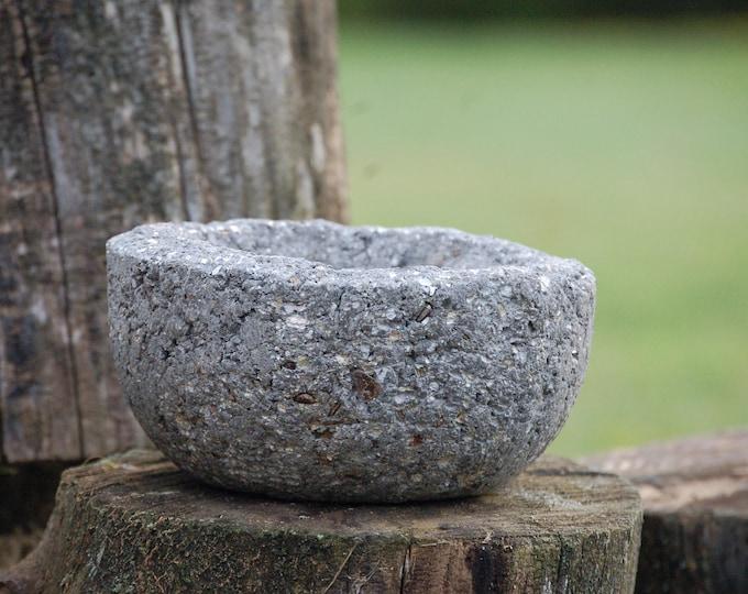Small Hypertufa Planter - Slate - Handmade Lightweight Concete Home and Garden Planter Pot