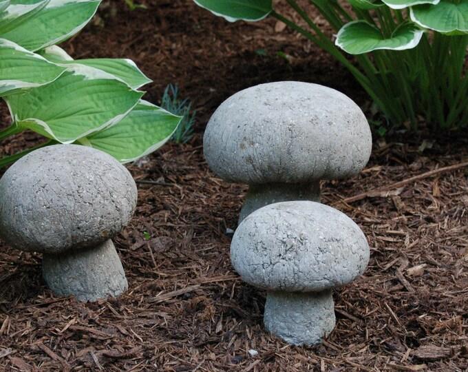 Cute as a Button Hypertufa Mushroom Set, Three Hypertufa White Button Garden Mushrooms