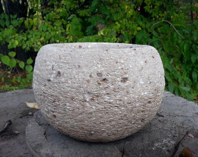 """Small Hypertufa Sphere Planter Limestone Color 9""""w x 5""""h"""