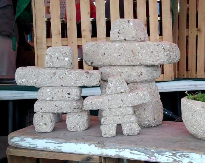 Inukshuk Family | Set of 3 Hypertufa Carved Inukshuk  Sculptures | Lightweight Concrete Garden Art | Limestone Color | Outdoor Frost Proof