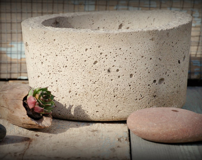 Simple Hypertufa Pot. Handmade Minimalist Lightweight Concrete Succulent Planter Container