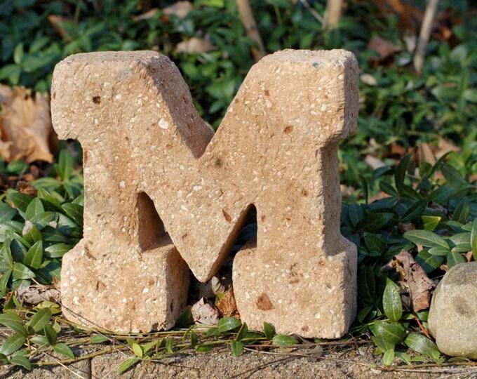 "Block M Maize Color 8"" w x 6.5""h U of M Student Grad Michigan Alumni Wolverine Fan Graduation Gift Made of Hypertufa, Lightweight Concrete"