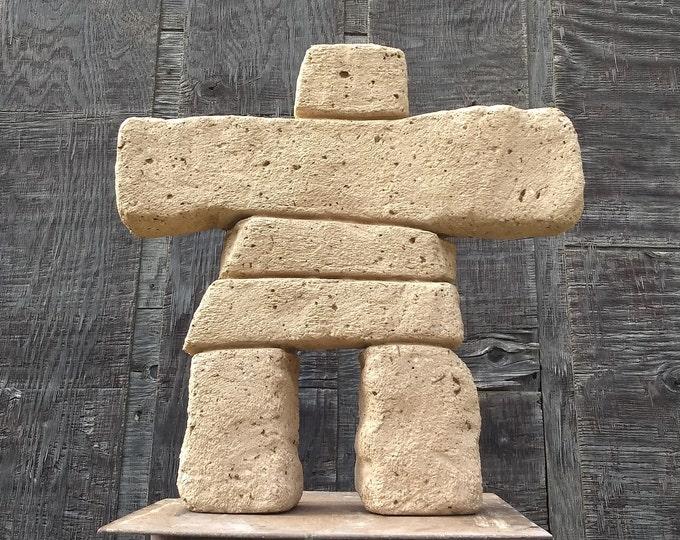 "Super Inukshuk ""Tor"" 18"" Tall (Sandstone)  Hypertufa Concrete Garden Art Inuit Stone cairn Sculpture"