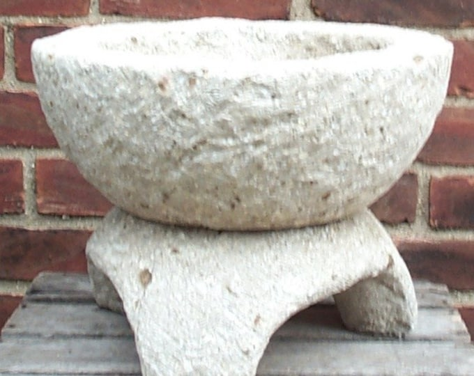 Hypertufa Footed Bowl Planter Limestone Color