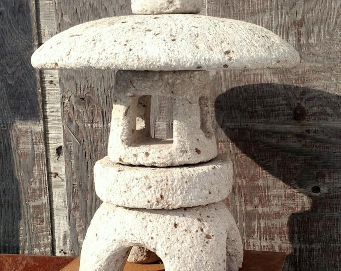 """Hypertufa Garden Lantern! 18"""" Tall. Simple Japanese Style Stone Lantern. Pagoda Lantern. Handmade Garden Sculpture"""
