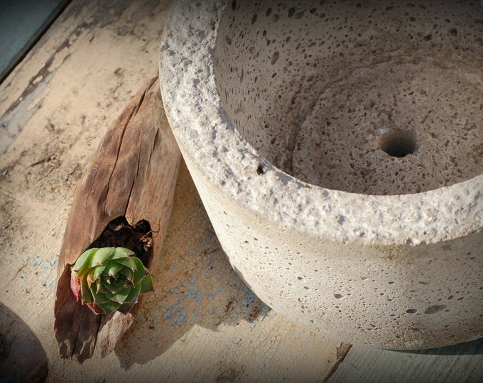 Simple Hypertufa Pot. Succulent Planter, Herb Planter, Handmade Lightwieight Concrete Planter, Minimalist Design, Container Gardening