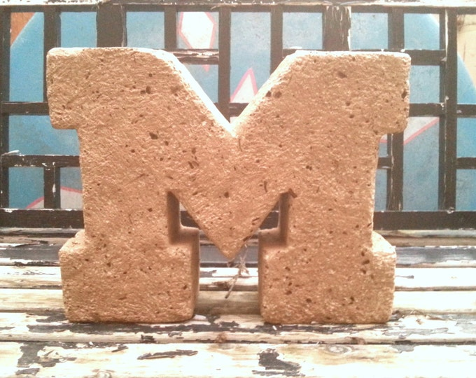 "Michigan Block ""M"" in Maize at 14""w x 11""h Go Blue!"