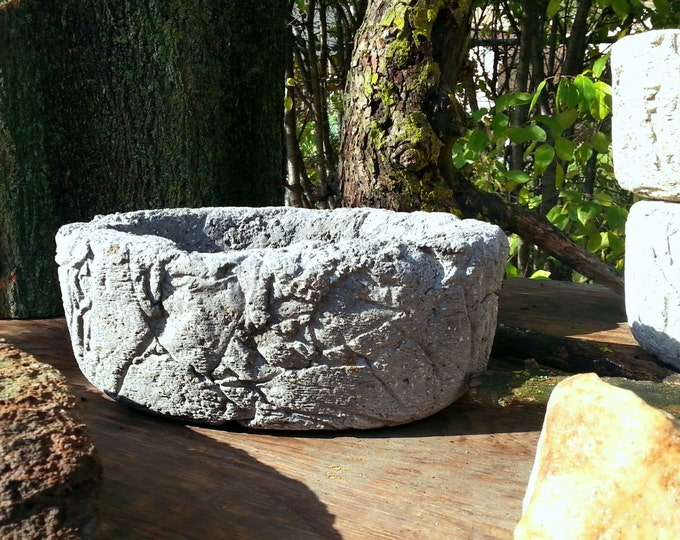 Hypertufa Planter | Rough & Rustic! | Small Oval Shaped Succulent Planter | Outdoor Concrete Planter | Slate Color