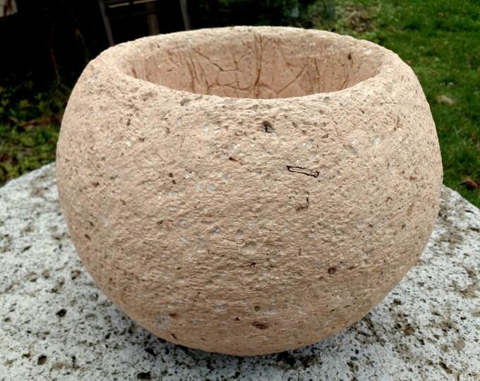 """Premium Hypertufa Planter, 13""""w x 10""""h, Large Sphere Planter Sandstone Color, Lightweight Decorative Concrete Outdoor Succulent Planter"""