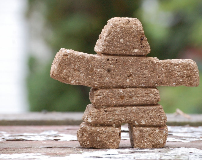 "Inukshuk ""Lil' Nook"" 6"" Tall (Sandstone) Hypertufa Inuit Inukshuk Stacked Stone cairn Sprit Man Sculpture"