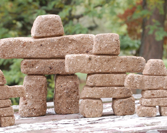 Inukshuk Family of 3 (Sandstone color) Free Shipping Premium Hypertufa Inuit Carved Stone cairn Concrete Sculpture Garden Art