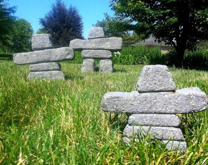 Hypertufa Inukshuk Family. Free Shipping! Big Nook, Shook, Lil' Nook (Slate) Inuit Carved Stone cairn, Handmade Concrete Sculpture Garden