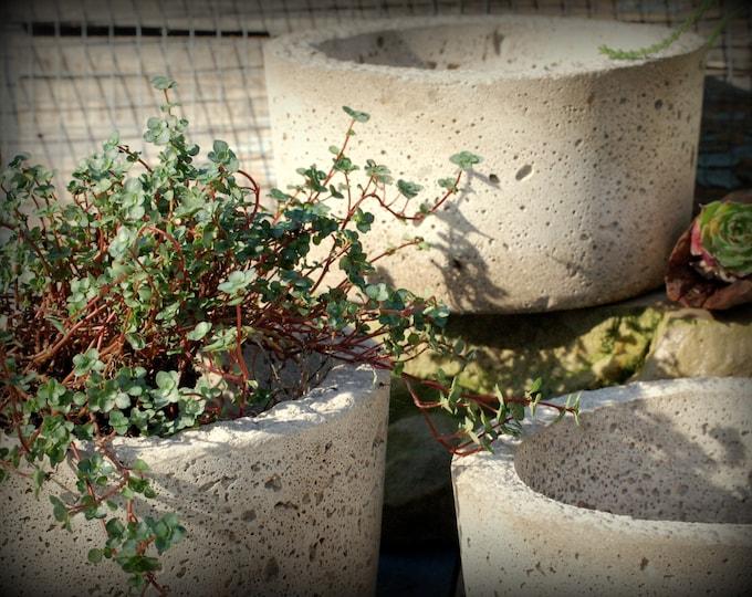 3 Hypertufa Pots, Set of 3 Simple Pots, Succulent Planters, Herb Planters, Container Gardening
