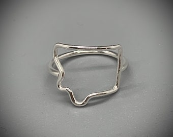 Montana Map Ring State jewelry Sterling Silver Montana jewelry
