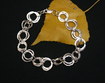 Hammered Ring Sterling Silver Bracelet