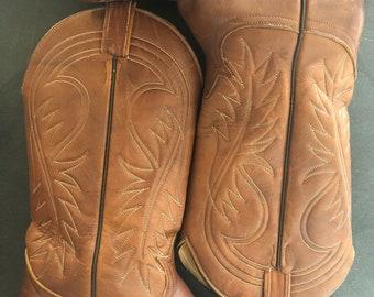 eedffd4b VINTAGE TONY LAMA Western Cowboy Boots Brown, Unisex Size 7 Mens, 8.5 Womens