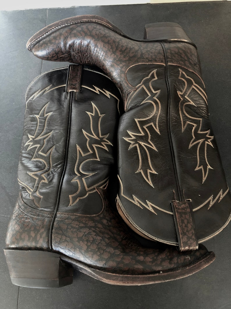 e016fb7a787 VINTAGE TONY LAMA Western Cowboy Boots, Dark Brown Exotic Skin, Rare,  Unisex Size Mens 8D, Womens 9-9.5