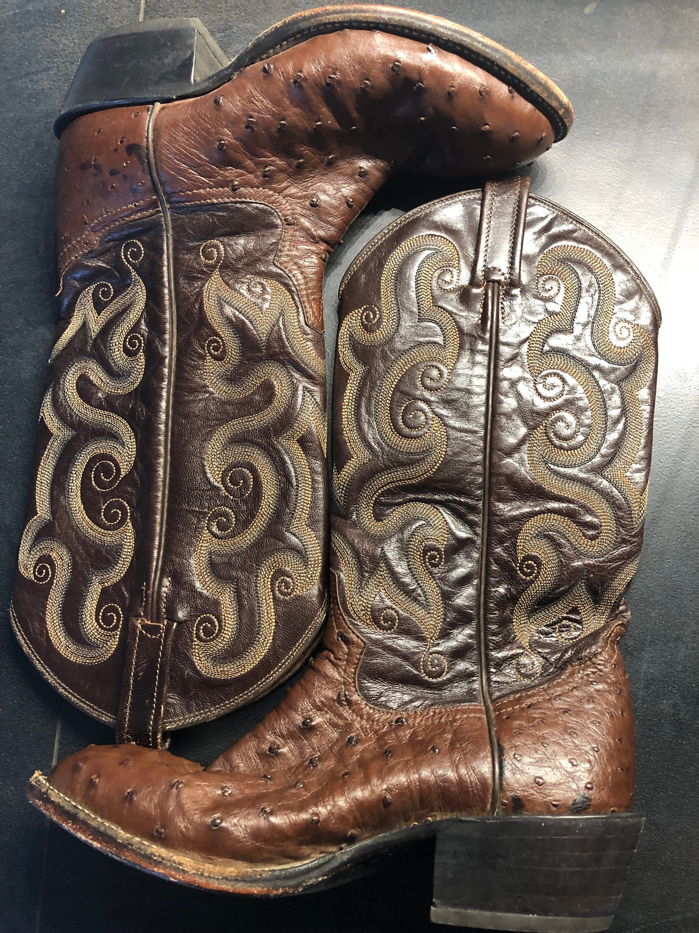 ed713a31001 VINTAGE TONY Lama Western Cowgirl Boots, Whiskey Dark Brown, Exotic Skin  Full Quill, US Womens Size 8 M