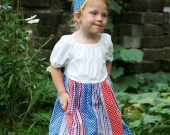 Little Girls Red, White, and Blue Patriotic 4th of July Stars and Stripes Peasant Dress Size 3