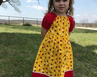 Little Girls Long Modest Yellow and Red Ladybug Short Sleeve Summer Peasant Dress Size 2/3