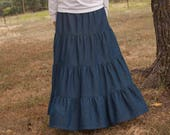 Girls Long Handmade Modest Medium Weight Denim Tiered Peasant Skirt Size 3-16