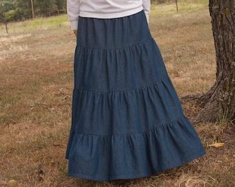 22b8c67181 Girls Long Handmade Modest Medium Weight Denim Tiered Peasant Skirt Size  3-16. JoyfullySewnDesigns. 5 out of ...