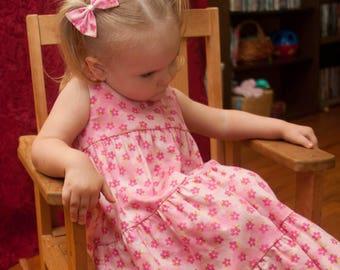Little Girls Long Handmade Pink Floral Tiered Summer Sundress Size 3